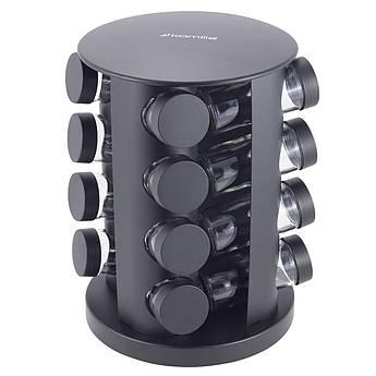 Органайзер для спецій чорний Kamille 100млх16шт 26,5х19х19см KM7046