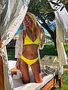 Желтый купальник раздельный женский Бразилиана, Красивый модный купальник 2021 с высокой талией, фото 7