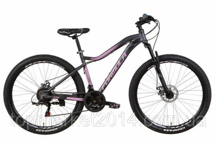 """Горный женский велосипед FORMULA MYSTIQUE AL 1.0 AM DD 27.5""""(серо-фиолетовый с черным)"""