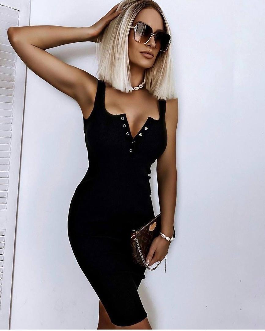 Облегающее женское летнее платье из трикотажа рубчик в расцветках (Норма)