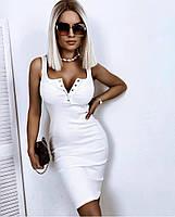 Облегающее женское летнее платье из трикотажа рубчик в расцветках (Норма), фото 3