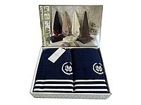 Набор полотенец Maison D'or Delon Navy White махровые 30-50 см,50-100 см,70-140 см синие