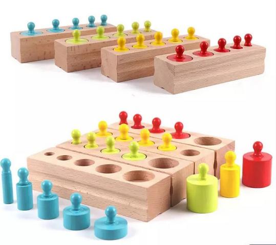 Развивающая игра цилиндры монтессори цветные .
