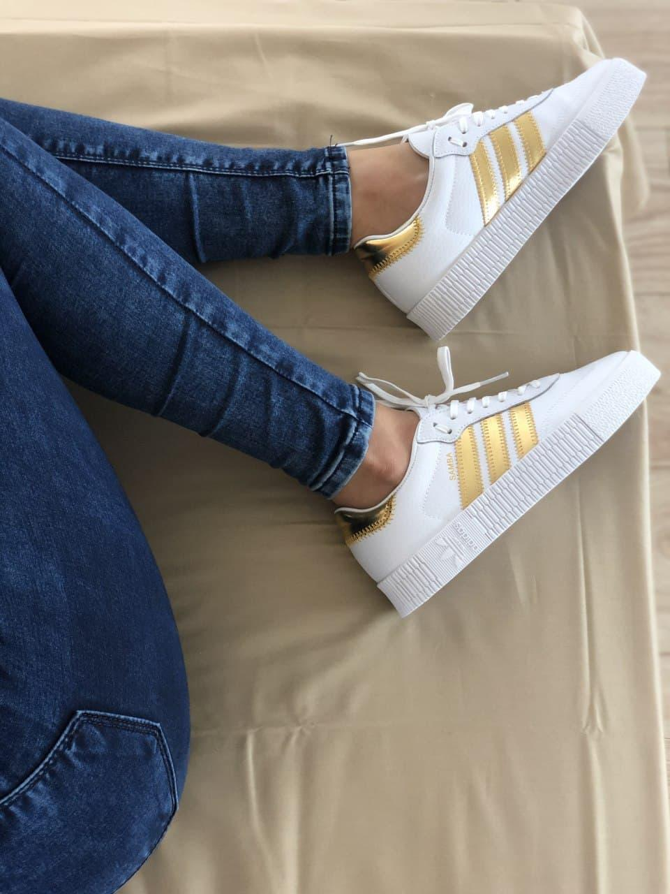 Женские кроссовки Adidas Samba White Gold