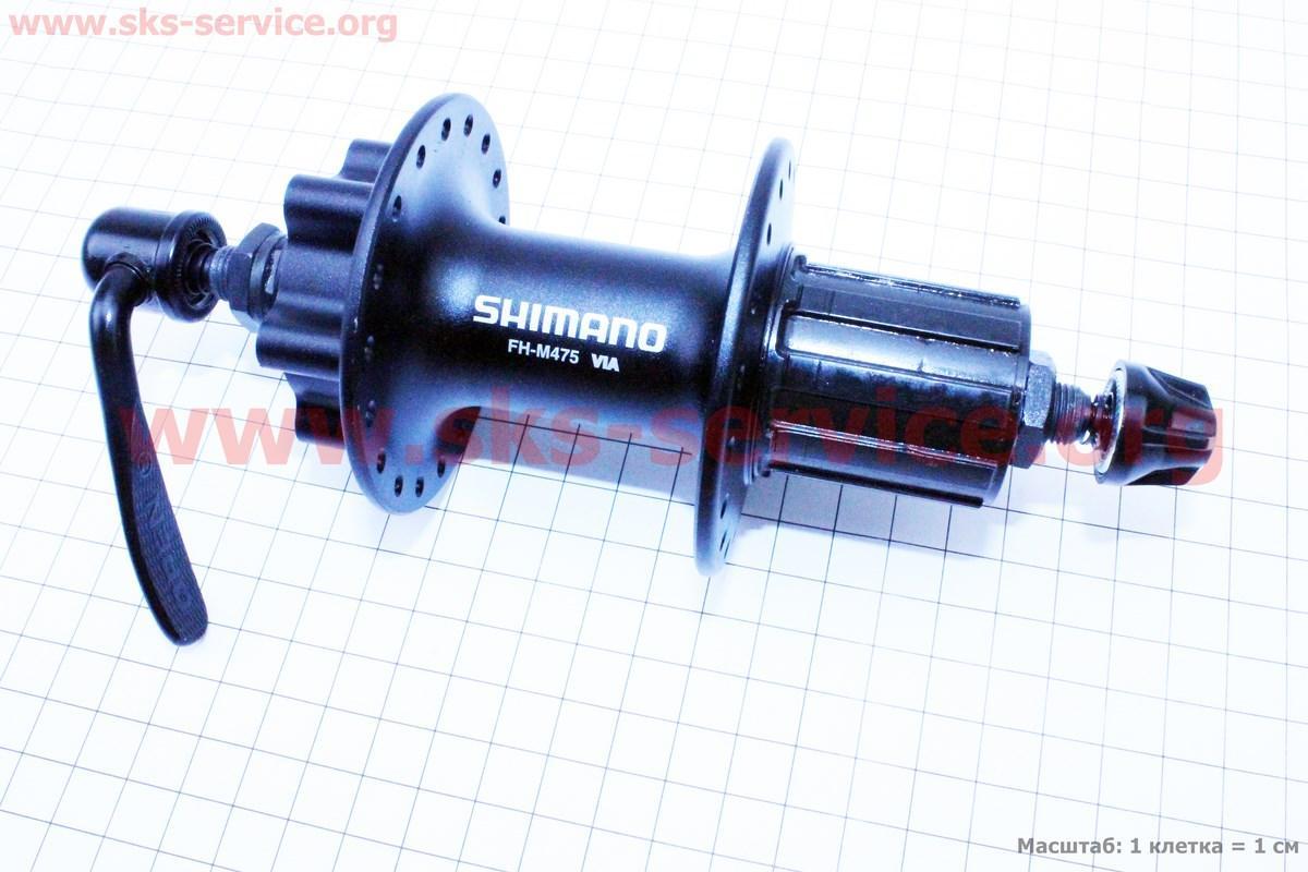 Втулка задня MTB алюмінієва 14Gx36H під касету 8-9-10зв, диск. гальма, крепл. ексцентрик, чорна HB-M475