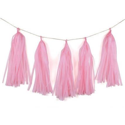 Бумажная гирлянда тассел из кисточек тишью розовый( 5 шт) длина  кисточки 35 см