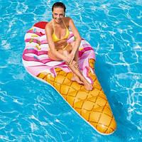 """Надувной матрас """"Рожок мороженого"""" 58762, Intex,Пляжный матрас для плавания, Детский надувной круг для"""