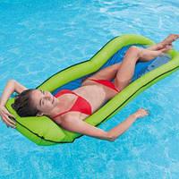 Надувной матрас-гамак (зеленый) 58836, Intex,Пляжный матрас для плавания, Детский надувной круг для купания,