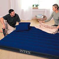 Матрас надувной велюровый с подушками и насосом, 152х203х25 см 64765, Intex,Пляжный матрас для плавания,