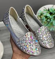 Женские балетки туфли серебристые с пайетками и декором , размеры 35,36,37,38,39