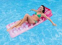 Надувной матрас с подушкой (розовый) 58890, Intex,Пляжный матрас для плавания, Детский надувной круг для