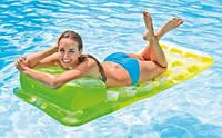 Надувной матрас с подушкой (зелёный) 58890, Intex,Пляжный матрас для плавания, Детский надувной круг для
