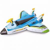 """Надувной плотик """"Самолет"""", с водным оружием (синий) 57536,Пляжный матрас для плавания, Детский надувной круг"""