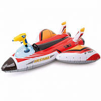 """Надувной плотик """"Самолет"""", с водным оружием (красный) 57536,Пляжный матрас для плавания, Детский надувной круг"""