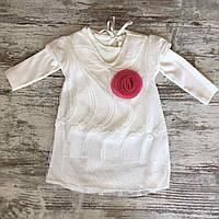 """Сукня дитяча з регланом """"ТРОЯНДОЧКА"""" для дівчинки 1-2 роки,білого кольору"""