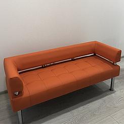 Офісний диван тримісний Тонус помаранчева екошкіра БЕЗКОШТОВНА ДОСТАВКА