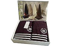 Набор полотенец Maison D'or Delon Purple махровые 30-50 см,50-100 см,70-140 см сливовый