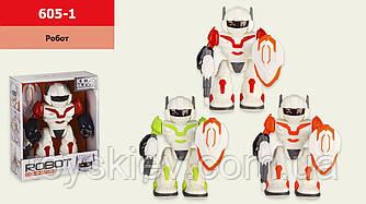Робот батар 605-1(48шт|2) 3 кольори, світло,звук,р-р іграшки– 17*7*22 см, в кор. 19,5*9*24 см