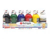 Краски акриловые, 6 цветов RA100-6, Red Apple,Акрилові краски, Декоративна фарба, Набор акриловых красок,
