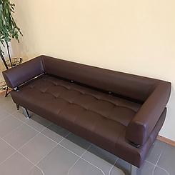 Офісний диван тримісний Тонус темно-коричнева екошкіра БЕЗКОШТОВНА ДОСТАВКА