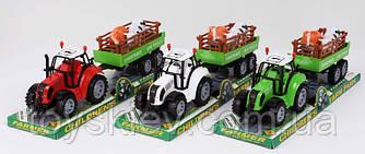 Трактор инерц. FB17-3 (72шт|2) с прицепом,3 цвета, под слюдой 37*10*11,5см