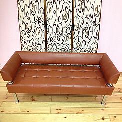 Офісний диван тримісний Тонус коричнева екошкіра БЕЗКОШТОВНА ДОСТАВКА