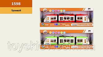 Трамвай батар. 1598(24шт)свет, звук, 2 цвета, в кор. 52*9*19 см, р-р игрушки – 46*5.5*8.5 см