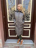 Плащ пальто куртка парка женская длинная демисезонная весна осень хаки батал большого размера легкая теплая ст