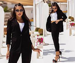 Костюм женский летний льняной жакет и брюки, фото 2