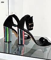 Женские замшевые босоножки на каблуке 35-40 р чёрный, фото 1