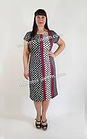Плаття трикотажне великого розміру  (48-62) горох