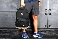 Міський рюкзак, портфель NIKE / Найк з шкір. дном. Стильний, молодіжний. Чорний з бежевим, фото 10