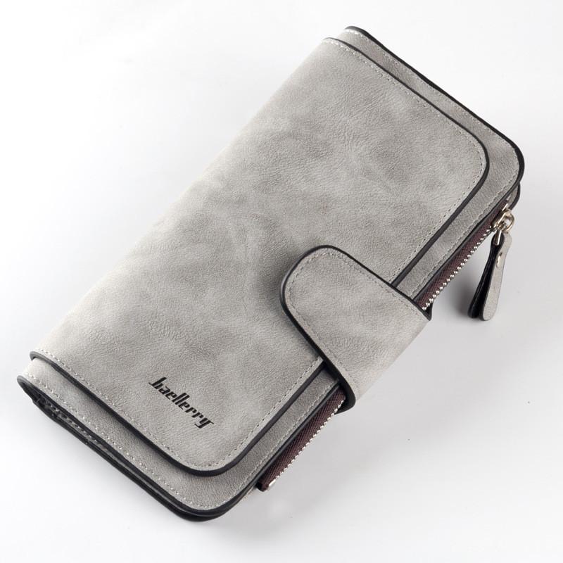 Жіночий гаманець, клатч Baellerry Forever, балери. Сірий. Замша PU