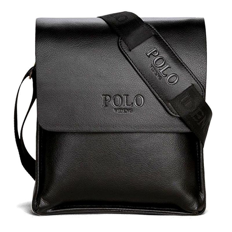 Якісна чоловіча сумка через плече Polo Videng, поло. Чорна. 24x21x7
