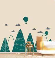 Детская наклейка Скандинавские горы (тучки воздушные шары декор стены) матовая Малый набор 1540х640 мм