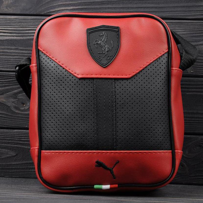 Стильна сумка через плече, барсетка Puma Ferrari, пума ферарі. Червона