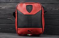 Стильна сумка через плече, барсетка Puma Ferrari, пума ферарі. Червона, фото 3