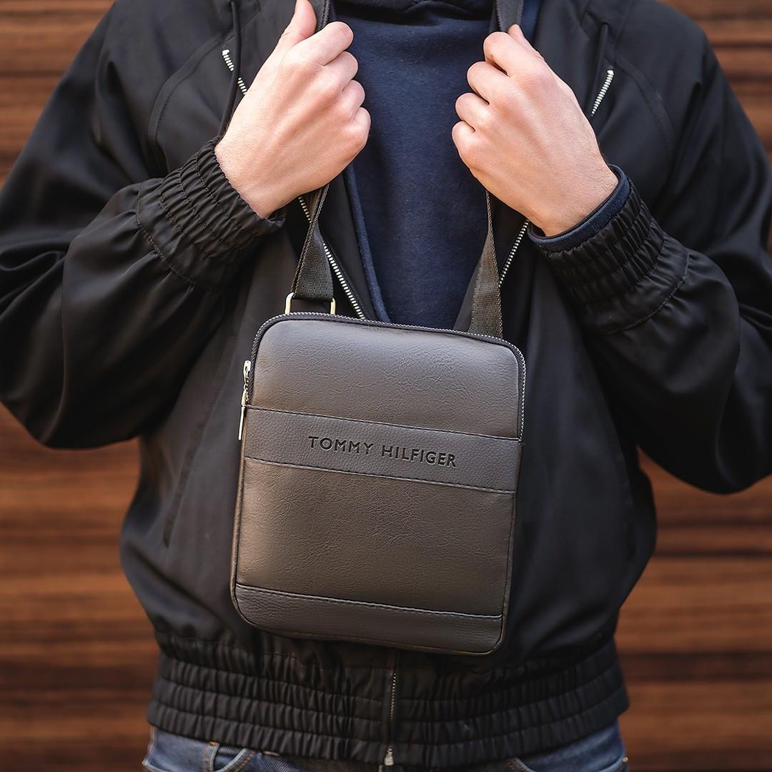 Стильная сумка через плечо, барсетка Tommy Hilfiger, томи. Черная