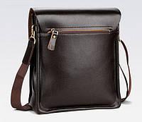 Якісна чоловіча сумка через плече Polo Videng, поло. Темно-коричнева. 24x21x7, фото 5