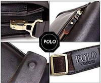 Якісна чоловіча сумка через плече Polo Videng, поло. Темно-коричнева. 24x21x7, фото 6