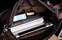 Качественная мужская сумка через плечо Polo Videng, поло. Темно-коричневая. 24x21x7, фото 7