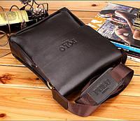 Качественная мужская сумка через плечо Polo Videng, поло. Темно-коричневая. 24x21x7, фото 8