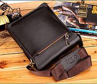 Качественная мужская сумка через плечо Polo Videng, поло. Темно-коричневая. 24x21x7, фото 10