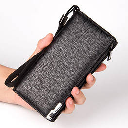 Клатч чоловічий шкіряний гаманець. Чорний. Baellerry Classic. Балери