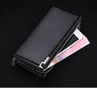 Клатч чоловічий шкіряний гаманець. Чорний. Baellerry Classic. Балери, фото 7