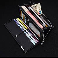 Клатч чоловічий шкіряний гаманець. Чорний. Baellerry Classic. Балери, фото 8