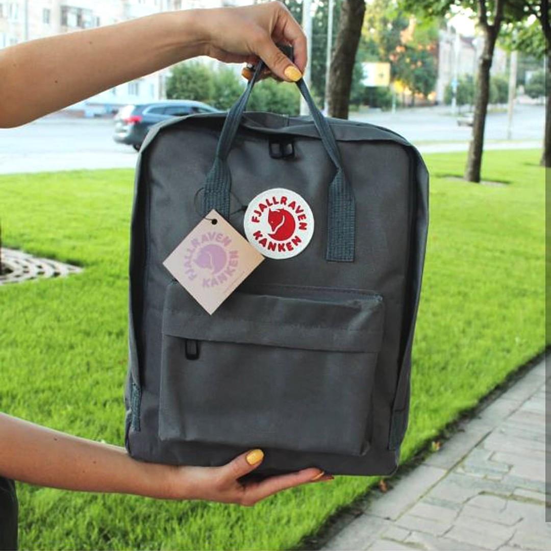 Стильний рюкзак, сумка Fjallraven Kanken Classic, канкен класік. Сірий / 7108