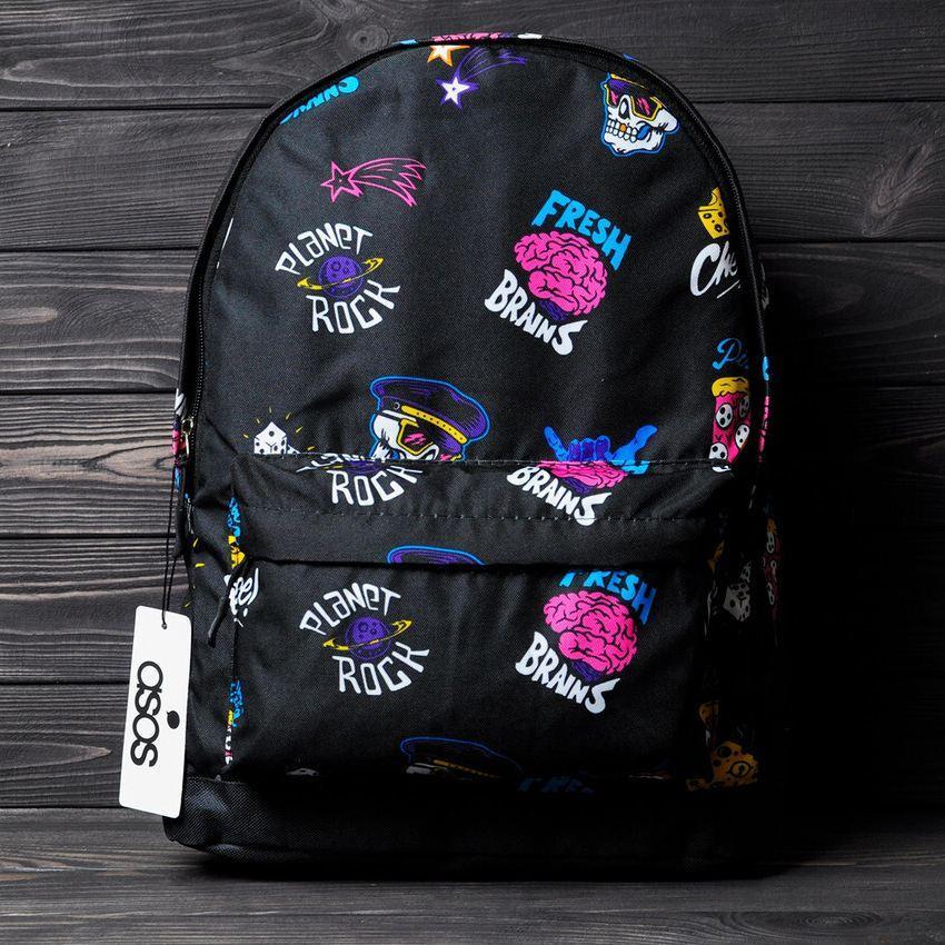 Стильний рюкзак з принтом Fresh Brains. Для подорожей, тренувань, навчання