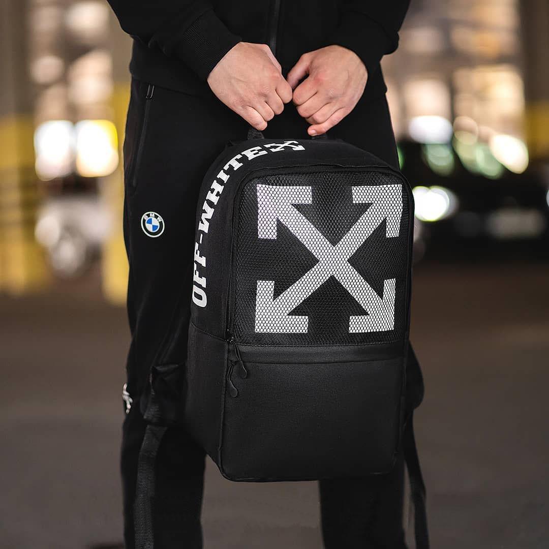 Стильний рюкзак міський OFF WHITE, оф вайт. Чорний