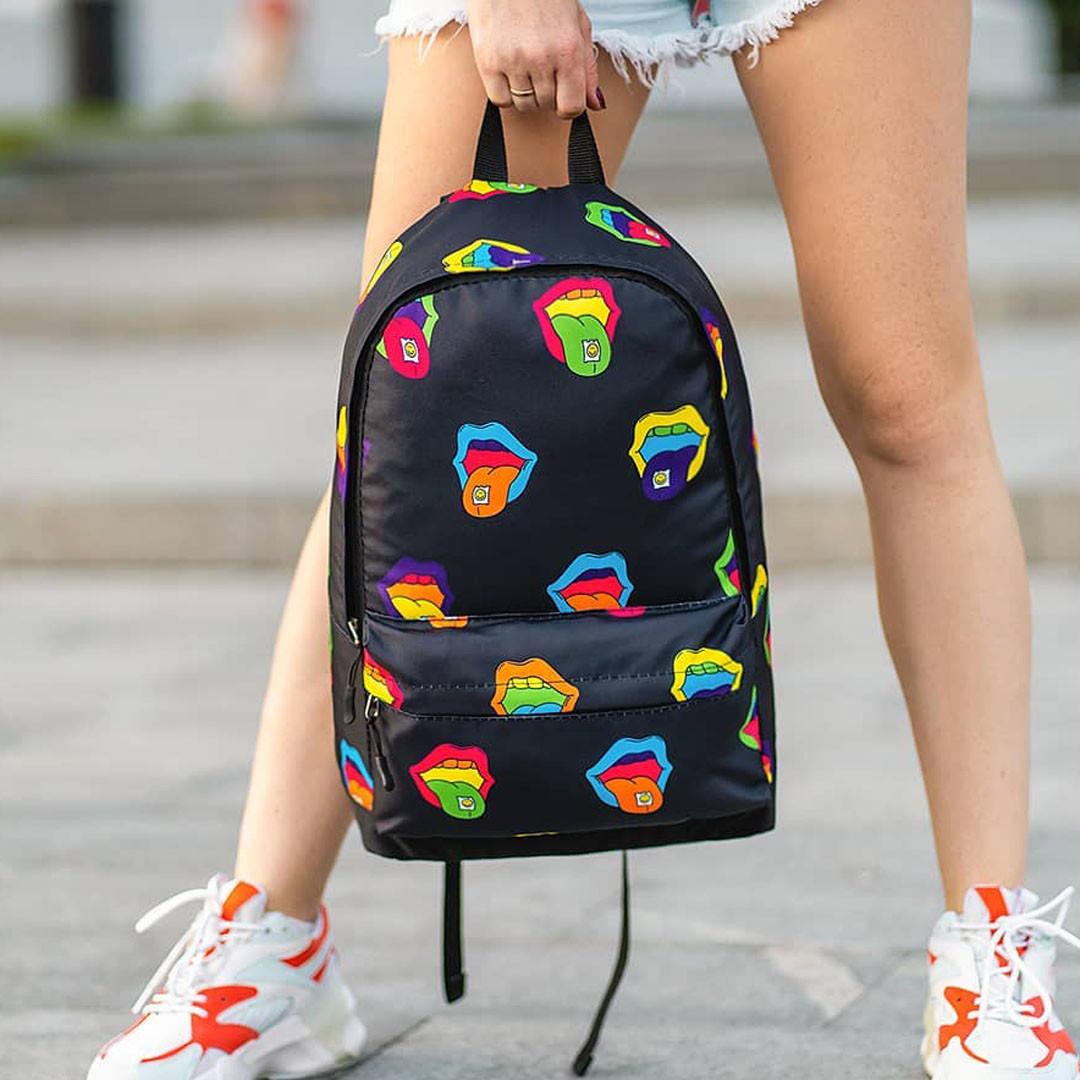 Крутой женский рюкзак с принтом Губы. Для учебы, путешествий, тренировок